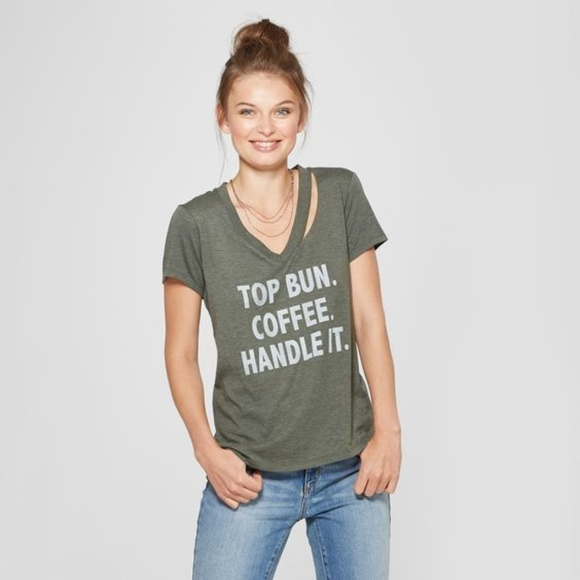 0747af6bf7e64 Grayson Threads Tops - NEW Olive Top Bun Coffee Handle It Graphic Tee C1